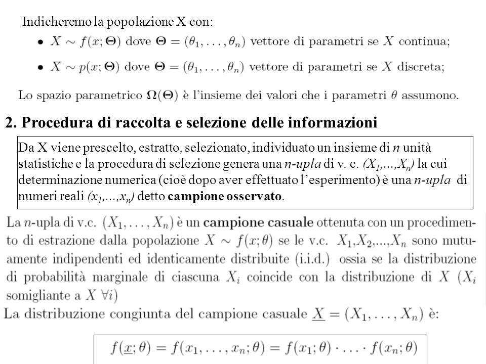 Indicheremo la popolazione X con: 2. Procedura di raccolta e selezione delle informazioni Da X viene prescelto, estratto, selezionato, individuato un
