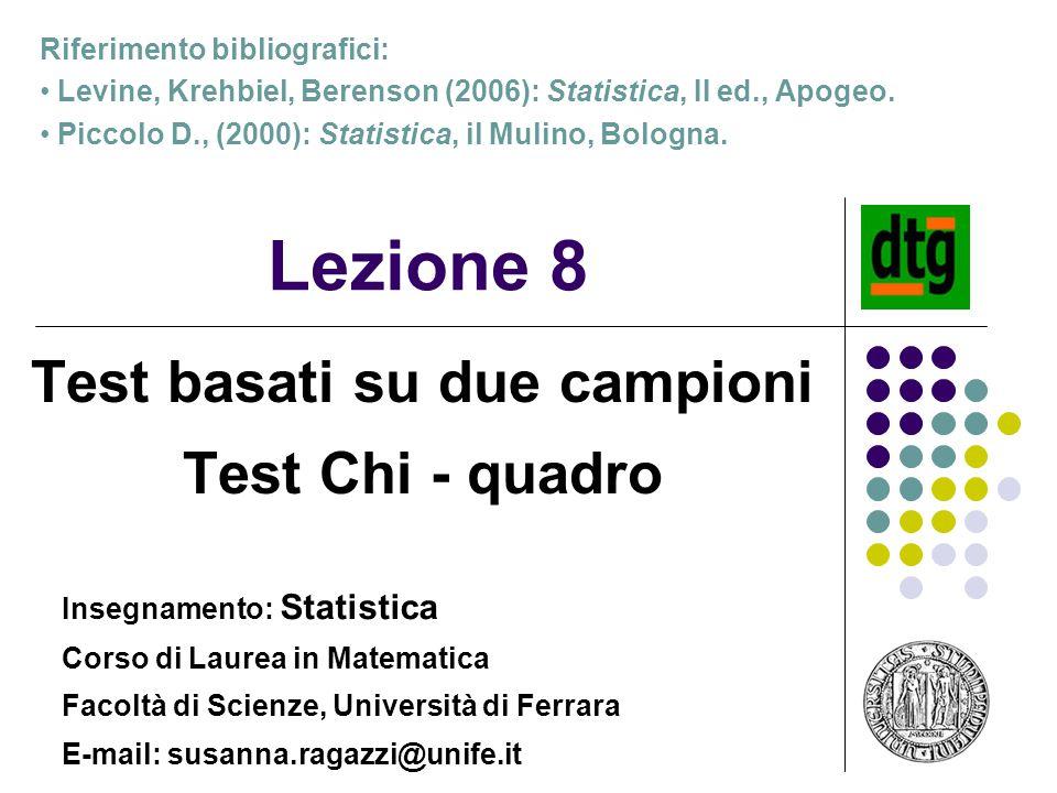 1 Lezione 8 Test basati su due campioni Test Chi - quadro Insegnamento: Statistica Corso di Laurea in Matematica Facoltà di Scienze, Università di Fer