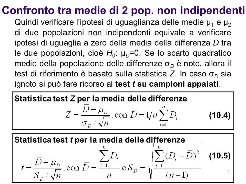13 Confronto tra medie di 2 pop. non indipendenti Statistica test Z per la media delle differenze (10.4) Quindi verificare l'ipotesi di uguaglianza de