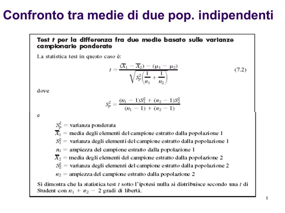 17 Spesso si è interessati a effettuare confronti e ad analizzare differenze tra due popolazioni con riferimento alla proporzione di casi con una certa caratteristica Per confrontare due proporzioni sulla base dei risultati di due campioni si può ricorrere al test Z per la differenza tra due proporzioni, la cui statistica test ha distribuzione approssimativamente normale quando le ampiezza campionarie sono sufficientemente elevate Statistica Z per la differenza tra due proporzioni (10.7) Confronto tra le proporzioni di due popolazioni