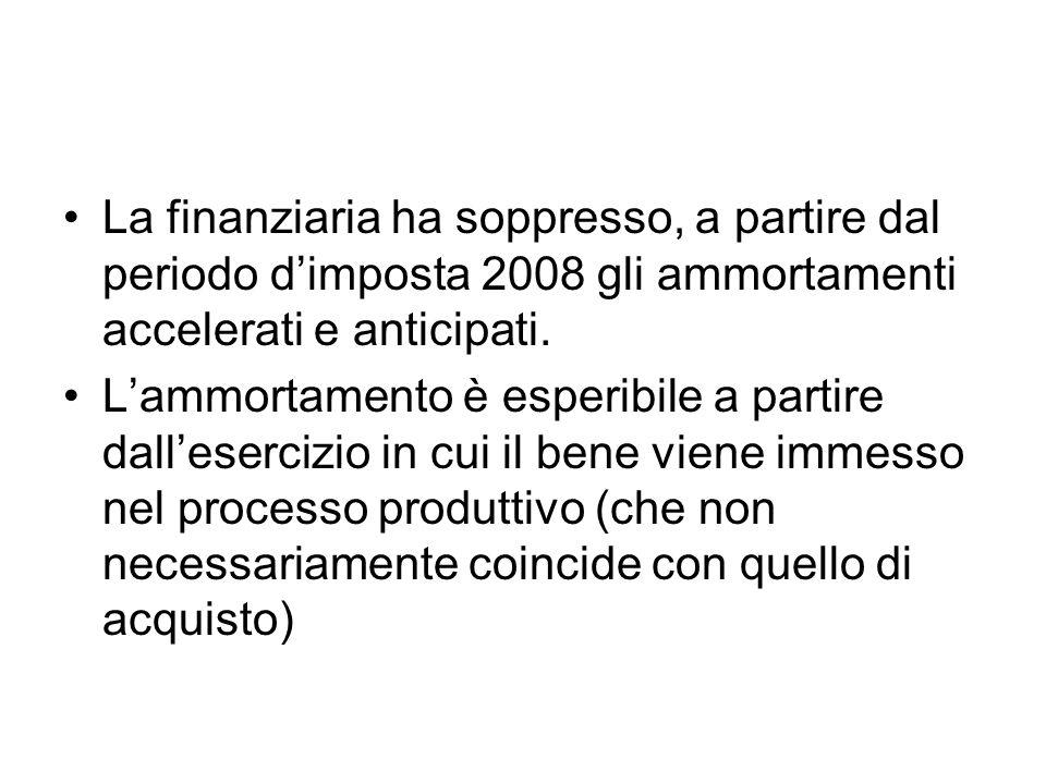 La finanziaria ha soppresso, a partire dal periodo d'imposta 2008 gli ammortamenti accelerati e anticipati.