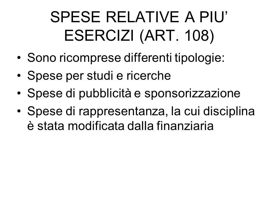 SPESE RELATIVE A PIU' ESERCIZI (ART.
