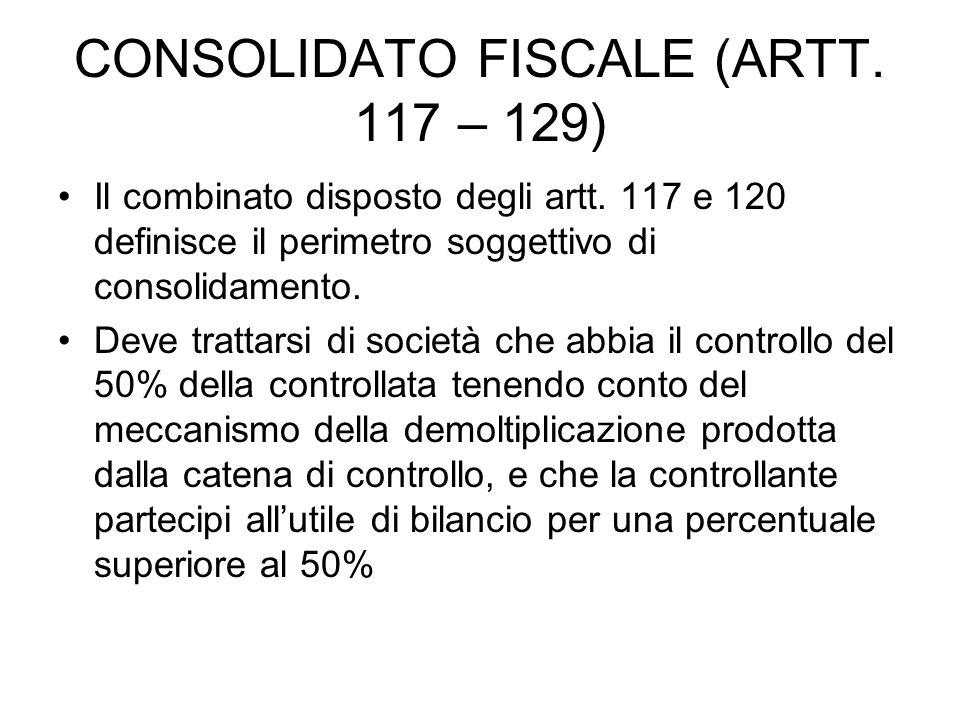CONSOLIDATO FISCALE (ARTT. 117 – 129) Il combinato disposto degli artt.