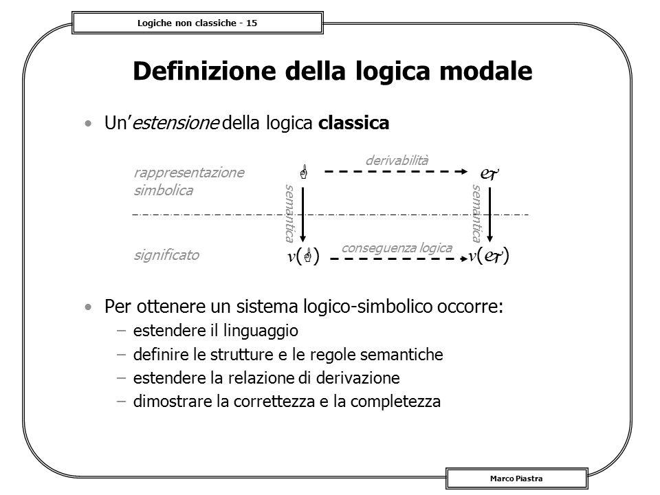 Logiche non classiche - 15 Marco Piastra Definizione della logica modale Un'estensione della logica classica Per ottenere un sistema logico-simbolico