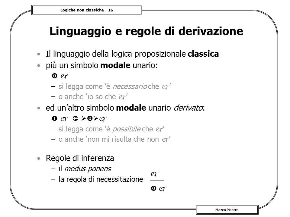 Logiche non classiche - 16 Marco Piastra Linguaggio e regole di derivazione Il linguaggio della logica proposizionale classica più un simbolo modale u