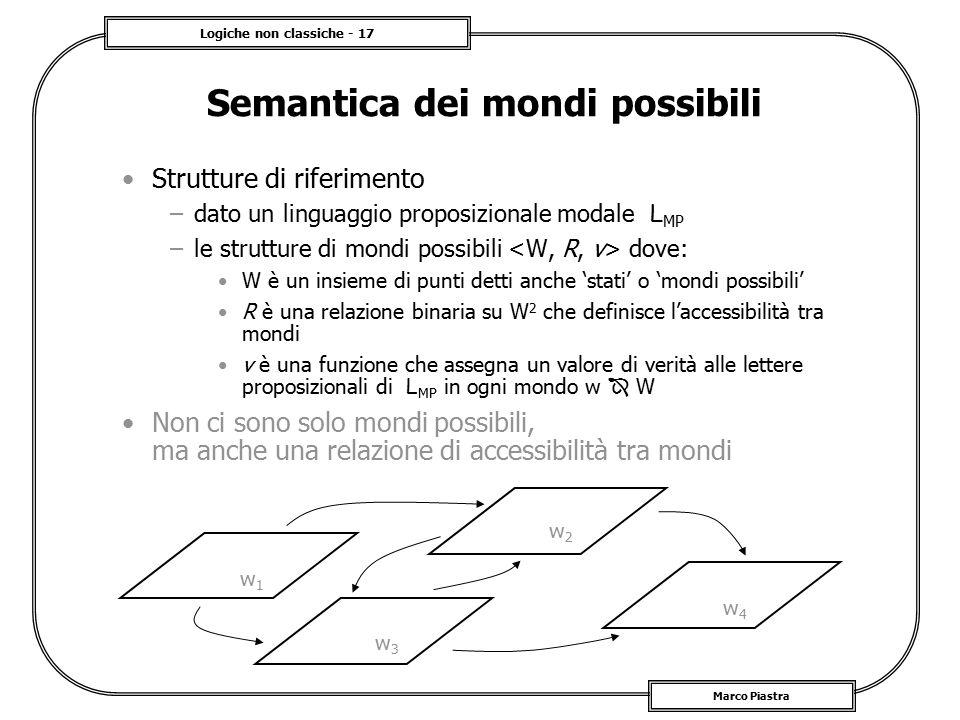 Logiche non classiche - 17 Marco Piastra Semantica dei mondi possibili Strutture di riferimento –dato un linguaggio proposizionale modale L MP –le str