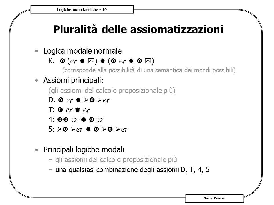 Logiche non classiche - 19 Marco Piastra Pluralità delle assiomatizzazioni Logica modale normale K:  (    )  (      ) (corrisponde alla poss