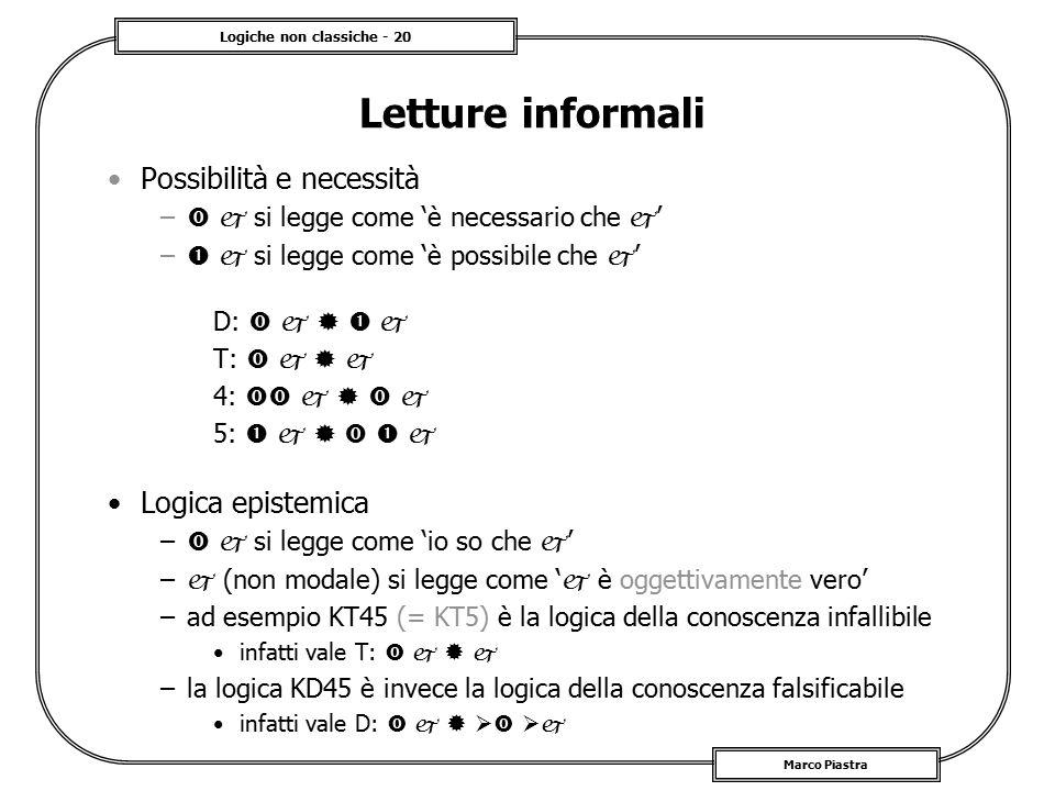 Logiche non classiche - 20 Marco Piastra Letture informali Possibilità e necessità –   si legge come 'è necessario che  ' –   si legge come 'è po