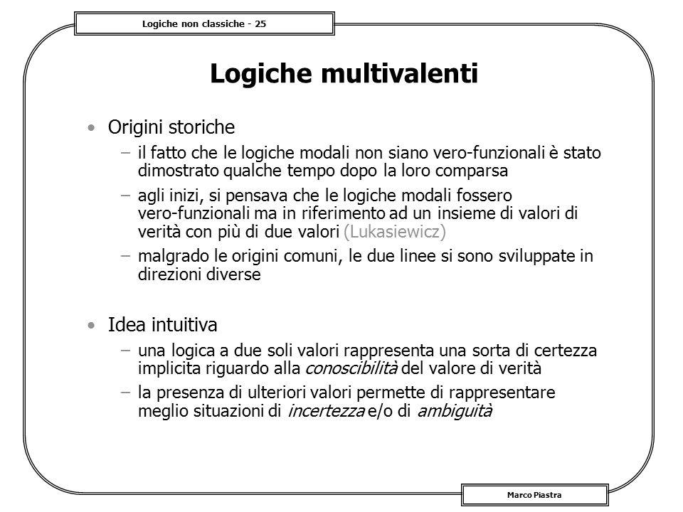 Logiche non classiche - 25 Marco Piastra Logiche multivalenti Origini storiche –il fatto che le logiche modali non siano vero-funzionali è stato dimos