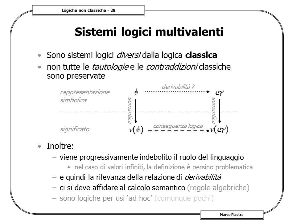 Logiche non classiche - 28 Marco Piastra Sistemi logici multivalenti Sono sistemi logici diversi dalla logica classica non tutte le tautologie e le co