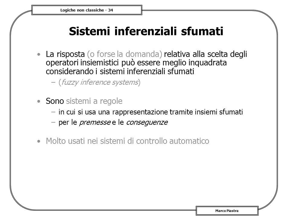 Logiche non classiche - 34 Marco Piastra Sistemi inferenziali sfumati La risposta (o forse la domanda) relativa alla scelta degli operatori insiemisti