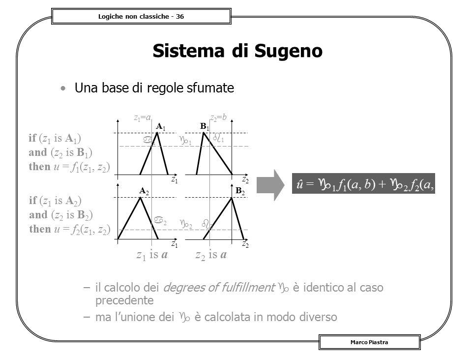 Logiche non classiche - 36 Marco Piastra Sistema di Sugeno Una base di regole sfumate –il calcolo dei degrees of fulfillment  è identico al caso prec