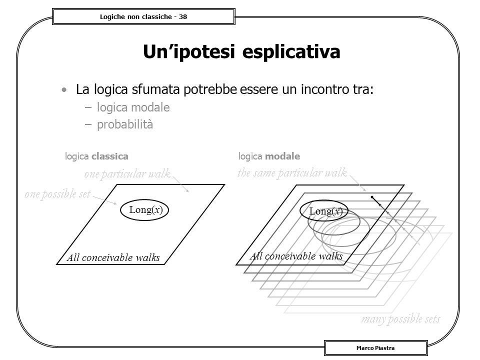 Logiche non classiche - 38 Marco Piastra Un'ipotesi esplicativa La logica sfumata potrebbe essere un incontro tra: –logica modale –probabilità one pos