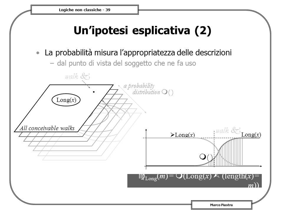 Logiche non classiche - 39 Marco Piastra Un'ipotesi esplicativa (2) La probabilità misura l'appropriatezza delle descrizioni –dal punto di vista del s