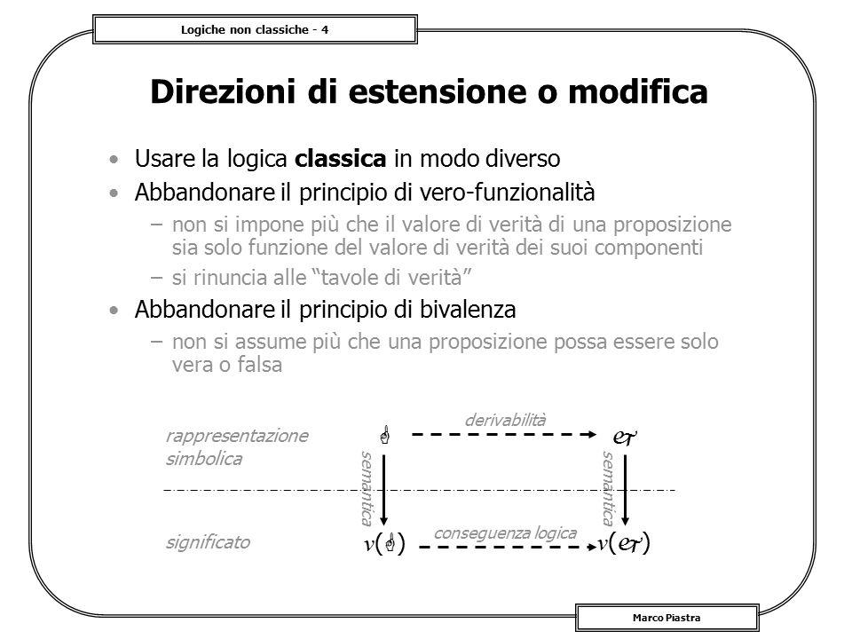 Logiche non classiche - 35 Marco Piastra Sistema di Mamdani Una base di regole sfumate –le premesse vengono intersecate con le osservazioni –i degrees of fulfillment  vengono propagati ai conseguenti –si calcola l'unione delle conseguenze conditioning A1A1 z1z1 A2A2 z1z1 B1B1 z2z2 B2B2 z2z2 z1=az1=a z2=bz2=b C1C1 u C2C2 u 11 22 22 22 11 11 u û z 1 is az 2 is a result if (z 1 is A 1 ) and (z 2 is B 1 ) then (u is C 1 ) if (z 1 is A 2 ) and (z 2 is B 2 ) then (u is C 2 )  1 = min(  1,  1 )  2 = min(  2,  2 )  (u) = max(min(C 1,  1 ), min(C 2,  2 ))