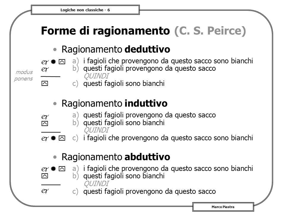 Logiche non classiche - 7 Marco Piastra Logica abduttiva Le regole di base per la rappresentazione del ragionamento sono quelle della logica classica E` invece diversa la rappresentazione formale del tipo di ragionamento –e quindi il tipo di calcolo utilizzato In generale: –si ha un modello o descrizione astratta formalmente rappresentato da una teoria K –si ha un insieme di osservazioni formalmente rappresentate da un insieme di proposizioni  –in generale K   –si cerca è un completamento  tale per cui K     –intuitivamente,  descrive le ipotesi che spiegano 