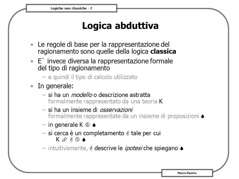 Logiche non classiche - 28 Marco Piastra Sistemi logici multivalenti Sono sistemi logici diversi dalla logica classica non tutte le tautologie e le contraddizioni classiche sono preservate Inoltre: –viene progressivamente indebolito il ruolo del linguaggio nel caso di valori infiniti, la definizione è persino problematica –e quindi la rilevanza della relazione di derivabilità –ci si deve affidare al calcolo semantico (regole algebriche) –sono logiche per usi 'ad hoc' (comunque pochi)  v()v() v()v() conseguenza logica derivabilità .