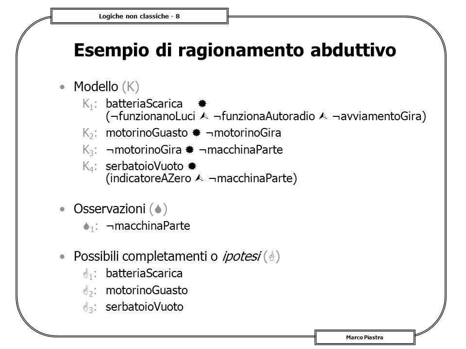 Logiche non classiche - 8 Marco Piastra Esempio di ragionamento abduttivo Modello (K) K 1 : batteriaScarica  (¬funzionanoLuci  ¬funzionaAutoradio 