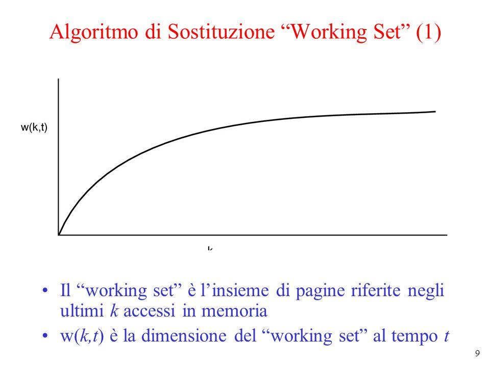 9 Algoritmo di Sostituzione Working Set (1) Il working set è l'insieme di pagine riferite negli ultimi k accessi in memoria w(k,t) è la dimensione del working set al tempo t