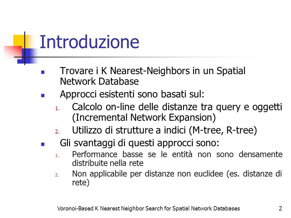 Voronoi-Based K Nearest Neighbor Search for Spatial Network Databases2 Introduzione Trovare i K Nearest-Neighbors in un Spatial Network Database Approcci esistenti sono basati sul: 1.