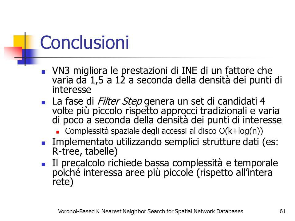 Voronoi-Based K Nearest Neighbor Search for Spatial Network Databases61 Conclusioni VN3 migliora le prestazioni di INE di un fattore che varia da 1,5 a 12 a seconda della densità dei punti di interesse La fase di Filter Step genera un set di candidati 4 volte più piccolo rispetto approcci tradizionali e varia di poco a seconda della densità dei punti di interesse Complessità spaziale degli accessi al disco O(k+log(n)) Implementato utilizzando semplici strutture dati (es: R-tree, tabelle) Il precalcolo richiede bassa complessità e temporale poiché interessa aree più piccole (rispetto all'intera rete)