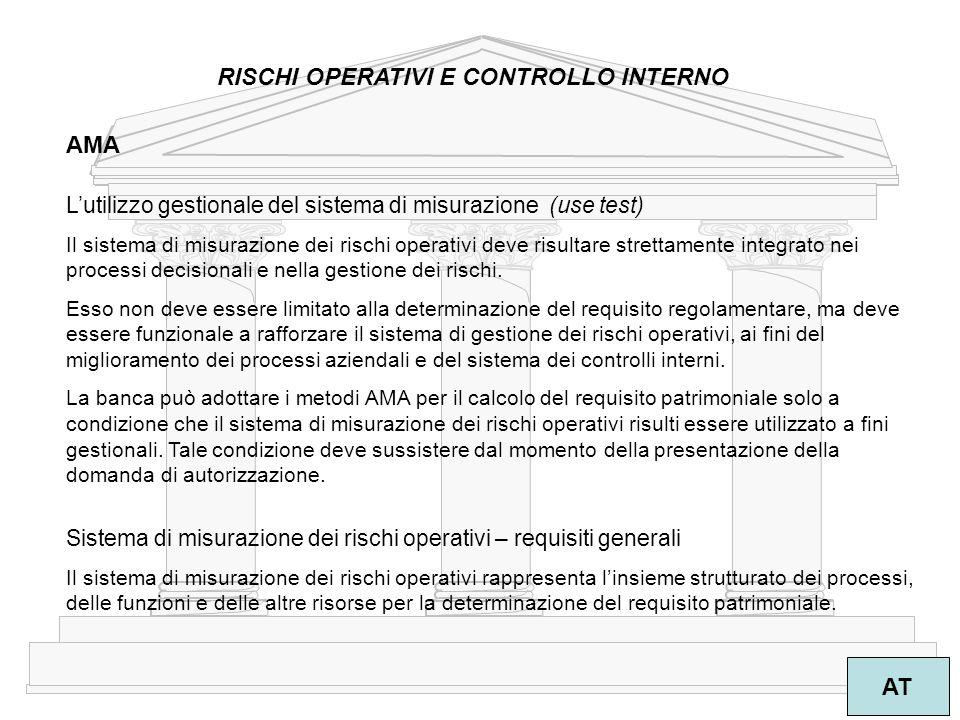 24 AT RISCHI OPERATIVI E CONTROLLO INTERNO AMA L'utilizzo gestionale del sistema di misurazione (use test) Il sistema di misurazione dei rischi operativi deve risultare strettamente integrato nei processi decisionali e nella gestione dei rischi.