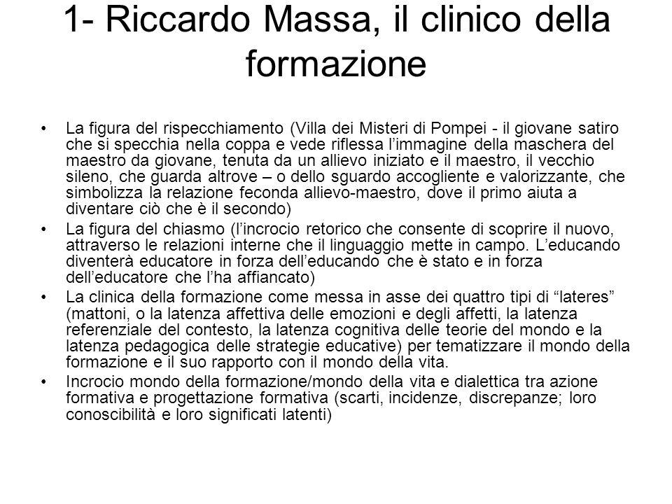 1- Riccardo Massa, il clinico della formazione La figura del rispecchiamento (Villa dei Misteri di Pompei - il giovane satiro che si specchia nella co