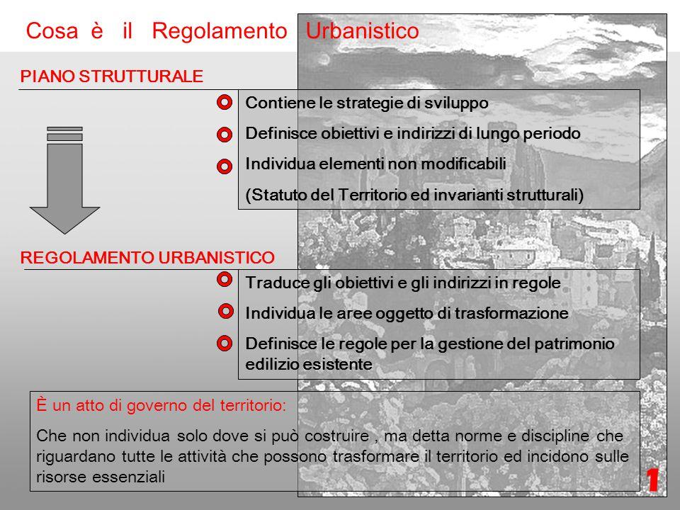 Formazione Nuovo regolamento Urbanistico Cosa è il Regolamento Urbanistico 1 PIANO STRUTTURALE Contiene le strategie di sviluppo Definisce obiettivi e indirizzi di lungo periodo Individua elementi non modificabili (Statuto del Territorio ed invarianti strutturali) REGOLAMENTO URBANISTICO Traduce gli obiettivi e gli indirizzi in regole Individua le aree oggetto di trasformazione Definisce le regole per la gestione del patrimonio edilizio esistente È un atto di governo del territorio: Che non individua solo dove si può costruire, ma detta norme e discipline che riguardano tutte le attività che possono trasformare il territorio ed incidono sulle risorse essenziali