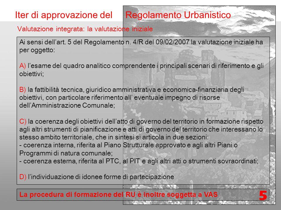 Formazione Nuovo regolamento Urbanistico Iter di approvazione del Regolamento Urbanistico Ai sensi dell'art.