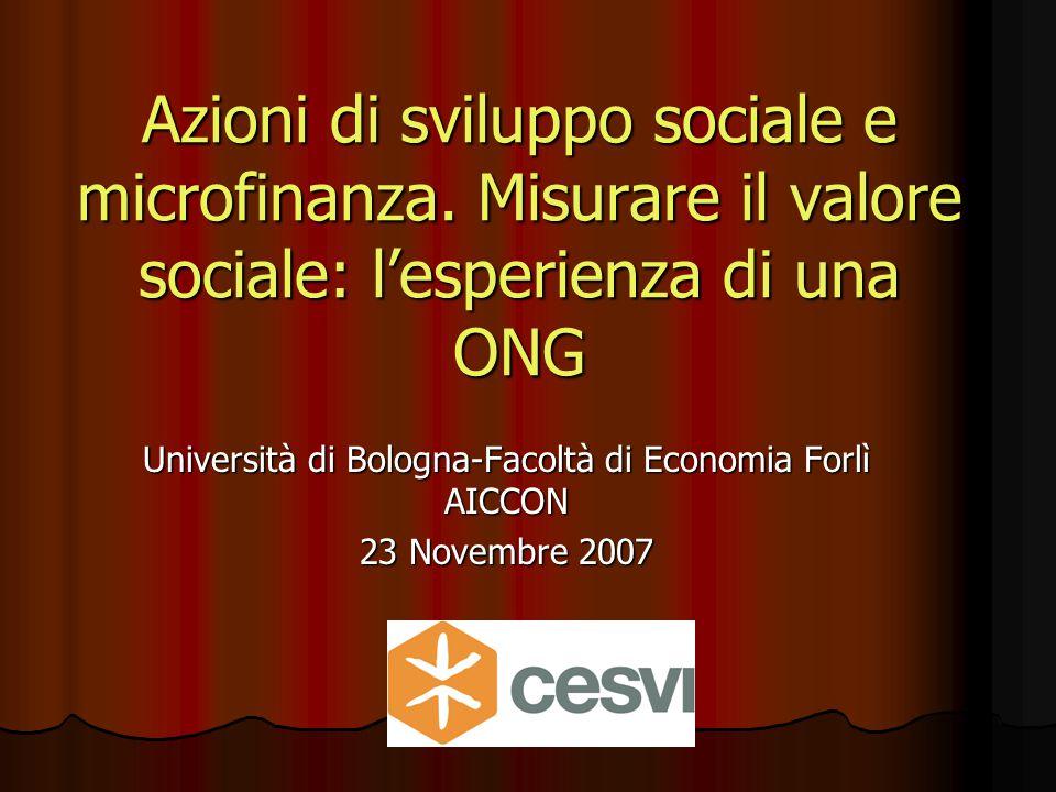 Azioni di sviluppo sociale e microfinanza.