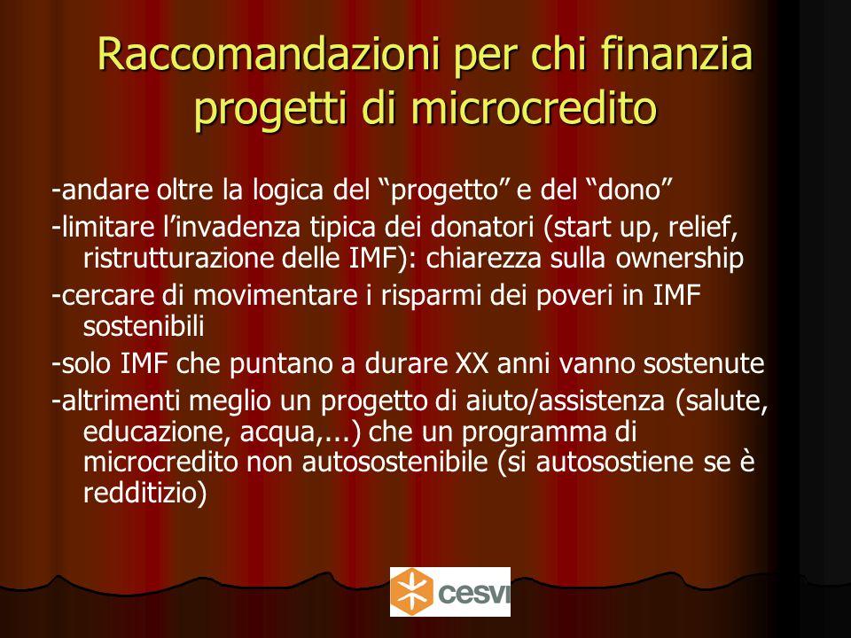 Raccomandazioni per chi finanzia progetti di microcredito -andare oltre la logica del progetto e del dono -limitare l'invadenza tipica dei donatori (start up, relief, ristrutturazione delle IMF): chiarezza sulla ownership -cercare di movimentare i risparmi dei poveri in IMF sostenibili -solo IMF che puntano a durare XX anni vanno sostenute -altrimenti meglio un progetto di aiuto/assistenza (salute, educazione, acqua,...) che un programma di microcredito non autosostenibile (si autosostiene se è redditizio)