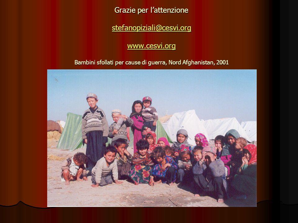 Grazie per l'attenzione stefanopiziali@cesvi.org www.cesvi.org Bambini sfollati per cause di guerra, Nord Afghanistan, 2001 stefanopiziali@cesvi.org www.cesvi.org stefanopiziali@cesvi.org www.cesvi.org