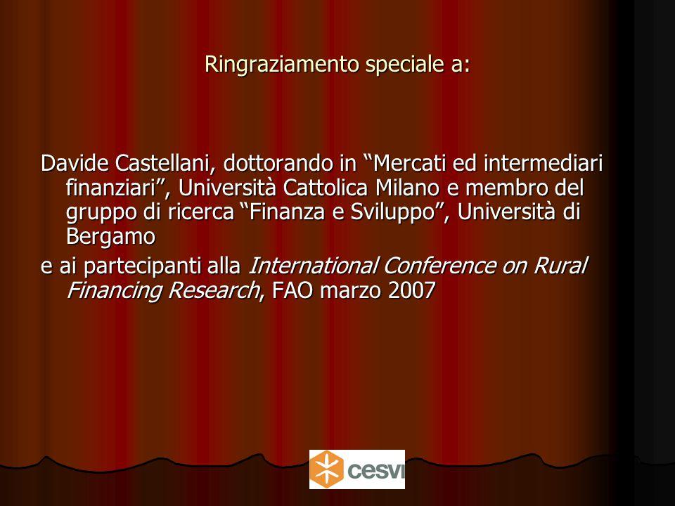 Ringraziamento speciale a: Davide Castellani, dottorando in Mercati ed intermediari finanziari , Università Cattolica Milano e membro del gruppo di ricerca Finanza e Sviluppo , Università di Bergamo e ai partecipanti alla International Conference on Rural Financing Research, FAO marzo 2007