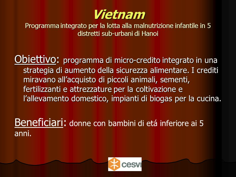 Vietnam Programma integrato per la lotta alla malnutrizione infantile in 5 distretti sub-urbani di Hanoi Obiettivo: programma di micro-credito integrato in una strategia di aumento della sicurezza alimentare.