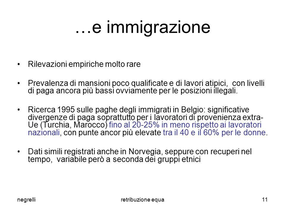 negrelliretribuzione equa11 …e immigrazione Rilevazioni empiriche molto rare Prevalenza di mansioni poco qualificate e di lavori atipici, con livelli