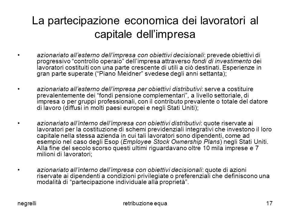 negrelliretribuzione equa17 La partecipazione economica dei lavoratori al capitale dell'impresa azionariato all'esterno dell'impresa con obiettivi dec