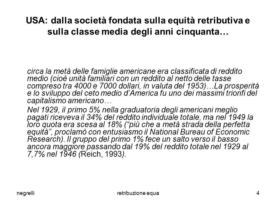 negrelliretribuzione equa4 USA: dalla società fondata sulla equità retributiva e sulla classe media degli anni cinquanta… circa la metà delle famiglie