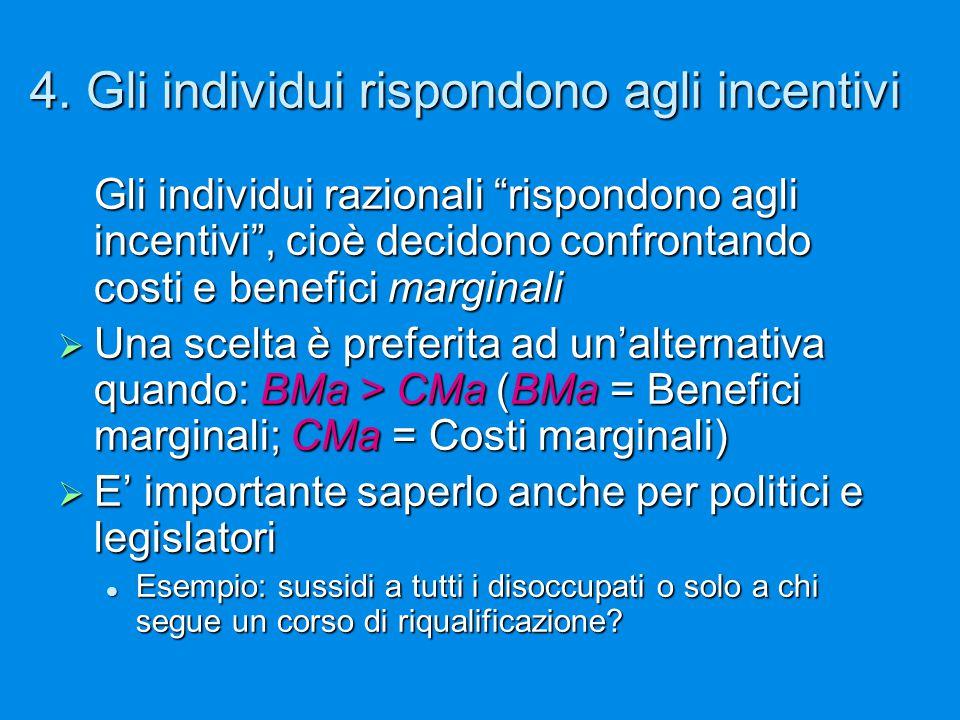 """4. Gli individui rispondono agli incentivi Gli individui razionali """"rispondono agli incentivi"""", cioè decidono confrontando costi e benefici marginali"""