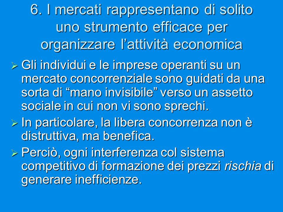 6. I mercati rappresentano di solito uno strumento efficace per organizzare l'attività economica  Gli individui e le imprese operanti su un mercato c
