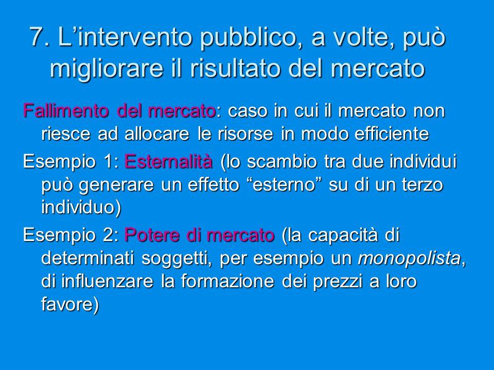 7. L'intervento pubblico, a volte, può migliorare il risultato del mercato Fallimento del mercato: caso in cui il mercato non riesce ad allocare le ri