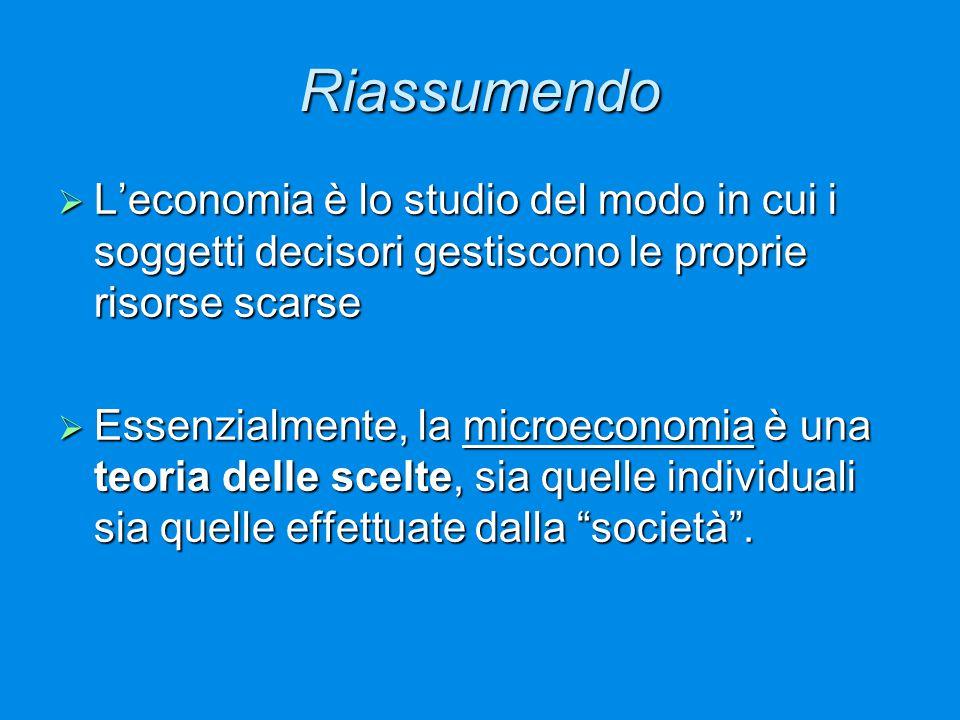 Riassumendo  L'economia è lo studio del modo in cui i soggetti decisori gestiscono le proprie risorse scarse  Essenzialmente, la microeconomia è una