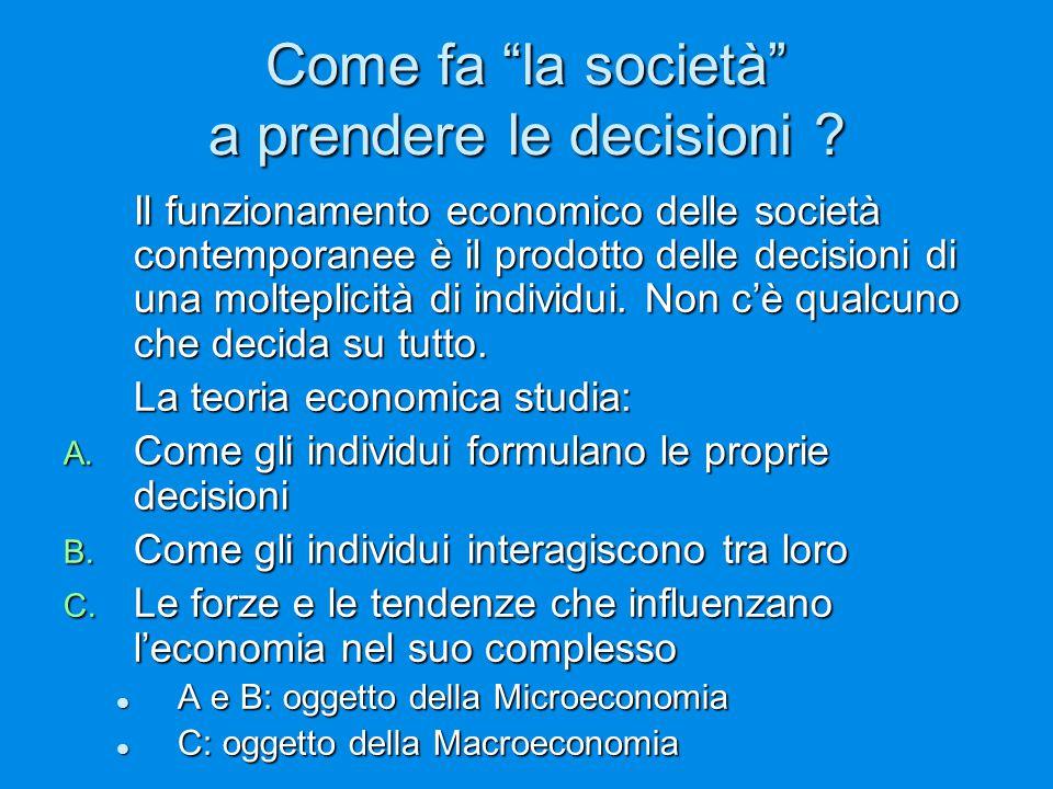 """Come fa """"la società"""" a prendere le decisioni ? Il funzionamento economico delle società contemporanee è il prodotto delle decisioni di una molteplicit"""
