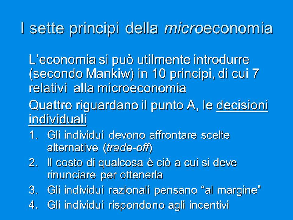 I sette principi della microeconomia L'economia si può utilmente introdurre (secondo Mankiw) in 10 principi, di cui 7 relativi alla microeconomia Quat