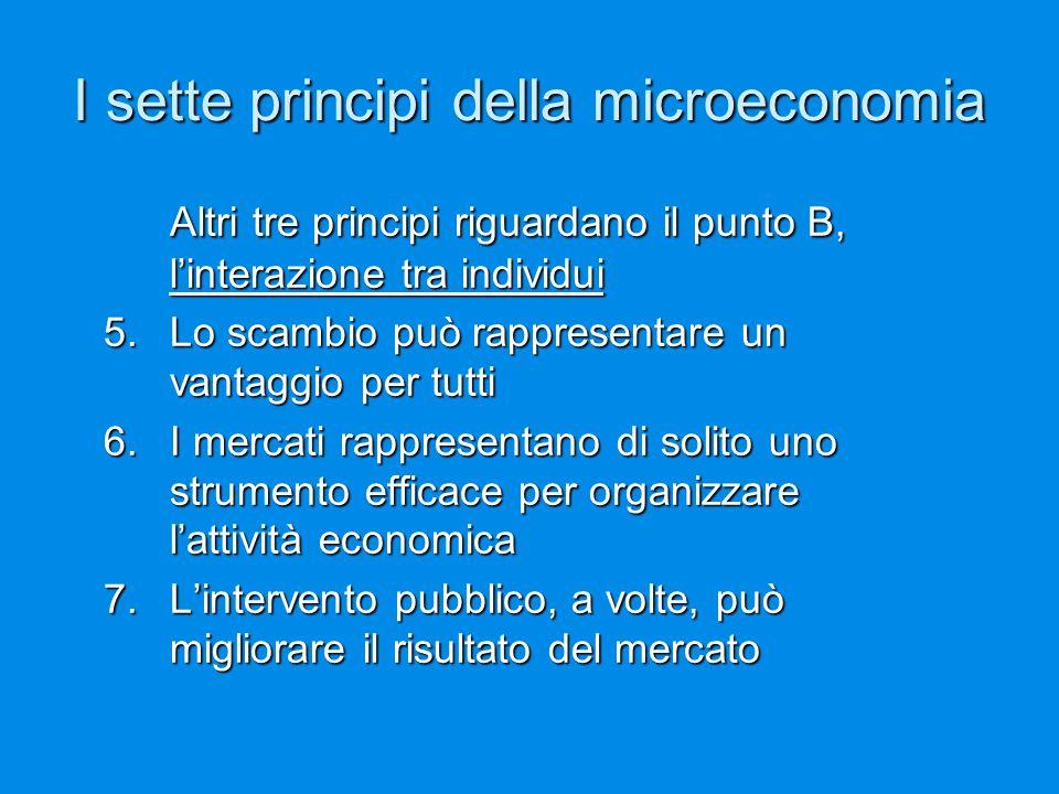 I sette principi della microeconomia Altri tre principi riguardano il punto B, l'interazione tra individui 5. Lo scambio può rappresentare un vantaggi