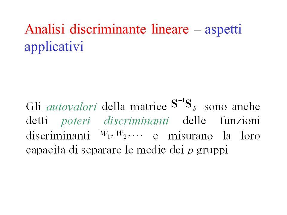 Analisi discriminante lineare – aspetti applicativi