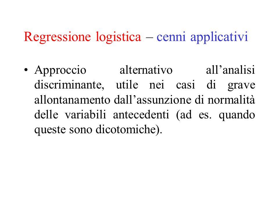 Regressione logistica – cenni applicativi Approccio alternativo all'analisi discriminante, utile nei casi di grave allontanamento dall'assunzione di n