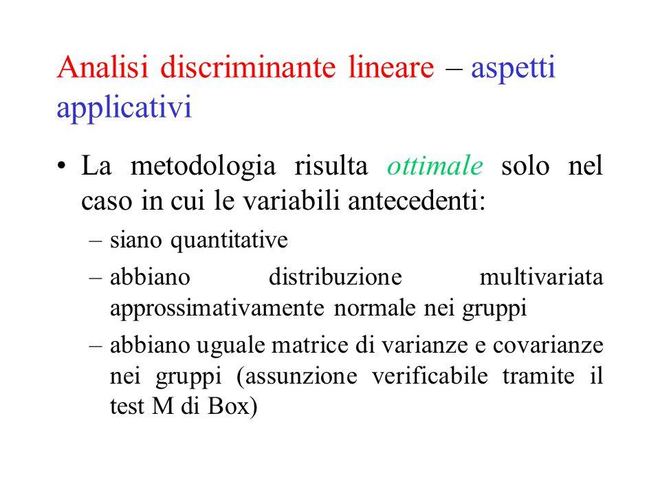 Analisi discriminante lineare – aspetti applicativi La metodologia risulta ottimale solo nel caso in cui le variabili antecedenti: –siano quantitative
