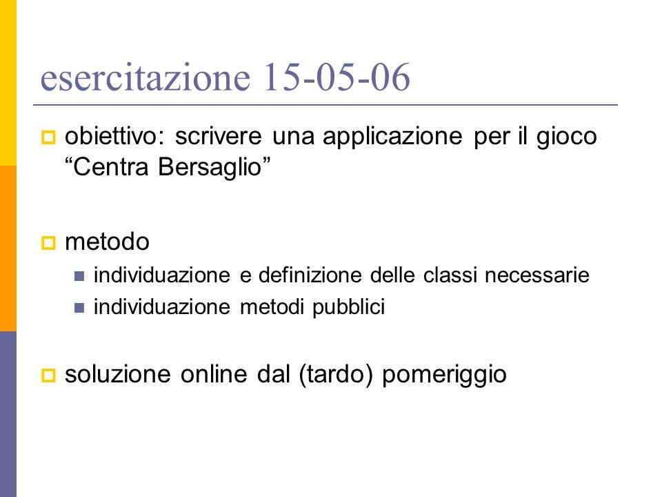 esercitazione 15-05-06  obiettivo: scrivere una applicazione per il gioco Centra Bersaglio  metodo individuazione e definizione delle classi necessarie individuazione metodi pubblici  soluzione online dal (tardo) pomeriggio