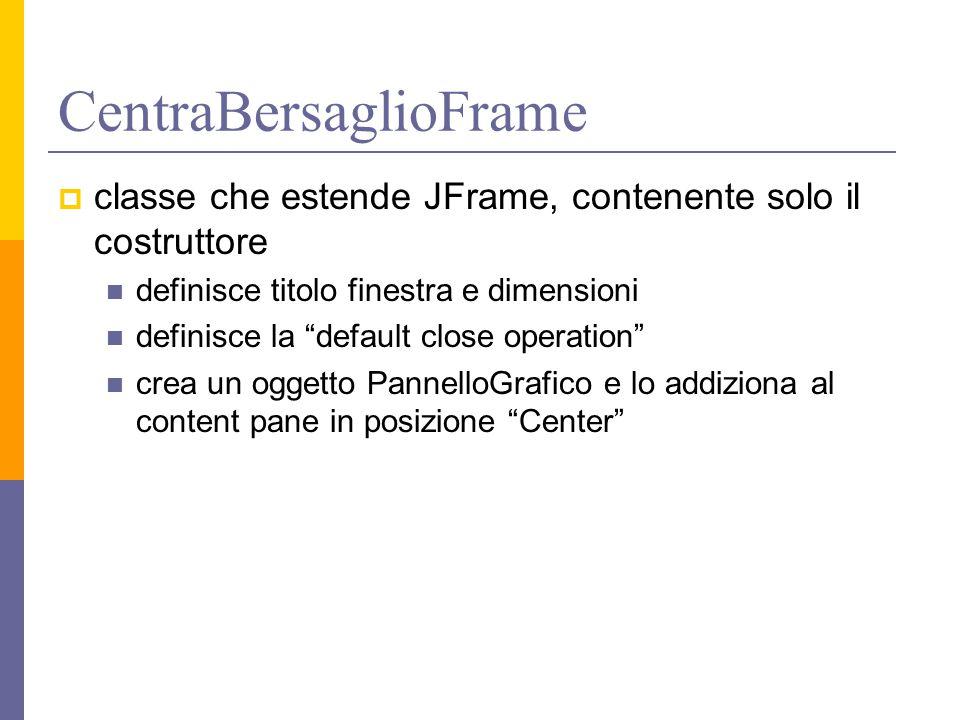 CentraBersaglioFrame  classe che estende JFrame, contenente solo il costruttore definisce titolo finestra e dimensioni definisce la default close operation crea un oggetto PannelloGrafico e lo addiziona al content pane in posizione Center