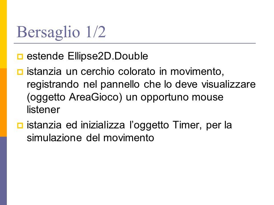 Bersaglio 1/2  estende Ellipse2D.Double  istanzia un cerchio colorato in movimento, registrando nel pannello che lo deve visualizzare (oggetto AreaGioco) un opportuno mouse listener  istanzia ed inizializza l'oggetto Timer, per la simulazione del movimento